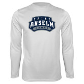 Performance White Longsleeve Shirt-Saint Anselm Hawks Mark