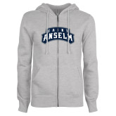 ENZA Ladies Grey Fleece Full Zip Hoodie-Saint Anselm Mark