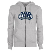 ENZA Ladies Grey Fleece Full Zip Hoodie-Saint Anselm Hawks Mark