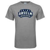 Grey T Shirt-Saint Anselm Hawks Mark