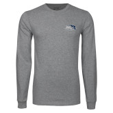 Grey Long Sleeve T Shirt-Athletic Mark Hawk Head