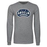 Grey Long Sleeve T Shirt-Saint Anselm Hawks Mark