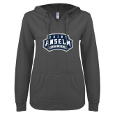 ENZA Ladies Dark Heather V Notch Raw Edge Fleece Hoodie-Saint Anselm Hawks Mark