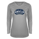 Ladies Syntrel Performance Platinum Longsleeve Shirt-Saint Anselm Hawks Mark