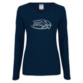 Ladies Navy Long Sleeve V Neck Tee-Athletic Mark Hawk Head