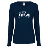 Ladies Navy Long Sleeve V Neck Tee-Saint Anselm Mark