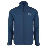 Navy Softshell Jacket-Athletic Mark Hawk Head