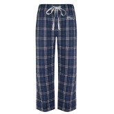 Navy/White Flannel Pajama Pant-Athletic Mark Hawk Head