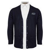 Navy V Neck Cardigan w/Pockets-Athletic Mark Hawk Head