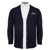 Navy V Neck Cardigan w/Pockets-Saint Anselm Mark