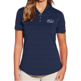 Ladies Callaway Horizontal Textured Navy Polo-Athletic Mark Hawk Head