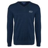Classic Mens V Neck Navy Sweater-Athletic Mark Hawk Head