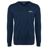Classic Mens V Neck Navy Sweater-Saint Anselm Mark