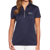 Ladies Callaway Tulip Sleeve Navy Zip Polo-Athletic Mark Hawk Head