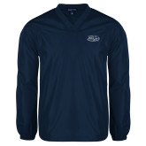 V Neck Navy Raglan Windshirt-Athletic Mark Hawk Head