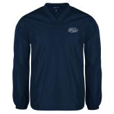 V Neck Navy Raglan Windshirt-Athletic Mark Hawk Head