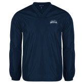 V Neck Navy Raglan Windshirt-Saint Anselm Mark