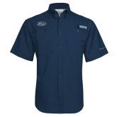 Columbia Tamiami Performance Navy Short Sleeve Shirt-Athletic Mark Hawk Head