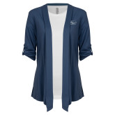 Ladies Navy Drape Front Cardigan-Athletic Mark Hawk Head
