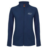 Ladies Fleece Full Zip Navy Jacket-Athletic Mark Hawk Head