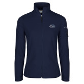 Columbia Ladies Full Zip Navy Fleece Jacket-Athletic Mark Hawk Head