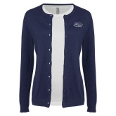 Ladies Navy Cardigan-Athletic Mark Hawk Head