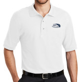 White Easycare Pique Polo-Athletic Mark Hawk Head
