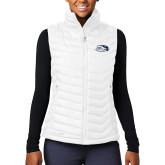 Columbia Lake 22 Ladies White Vest-Athletic Mark Hawk Head