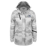 Ladies White Brushstroke Print Insulated Jacket-Athletic Mark Hawk Head