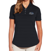 Ladies Callaway Horizontal Textured Black Polo-Athletic Mark Hawk Head