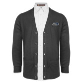 Charcoal V Neck Cardigan w/Pockets-Athletic Mark Hawk Head