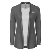 Ladies Heather Grey Open Front Cardigan-Athletic Mark Hawk Head