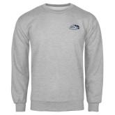 Grey Fleece Crew-Athletic Mark Hawk Head