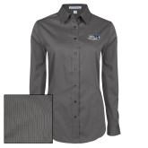 Ladies Grey Tonal Pattern Long Sleeve Shirt-Athletic Mark Hawk Head