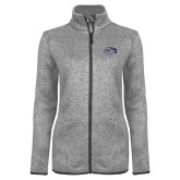 Grey Heather Ladies Fleece Jacket-Athletic Mark Hawk Head