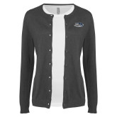 Ladies Charcoal Cardigan-Athletic Mark Hawk Head
