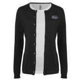 Ladies Black Cardigan-Athletic Mark Hawk Head