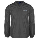 V Neck Charcoal Raglan Windshirt-Athletic Mark Hawk Head