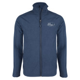 Navy Heather Softshell Jacket-Athletic Mark Hawk Head