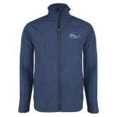 Navy Heather Softshell Jacket-Athletic Mark Hawk Head
