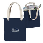Allie Navy Canvas Tote-Athletic Mark Hawk Head