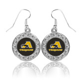 Crystal Studded Round Pendant Silver Dangle Earrings-A w/ Trojans