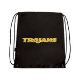 Black Drawstring Backpack-Trojans