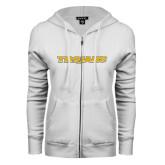 ENZA Ladies White Fleece Full Zip Hoodie-Trojans