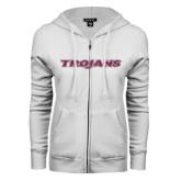 ENZA Ladies White Fleece Full Zip Hoodie-Trojans Pink Glitter
