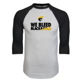 White/Black Raglan Baseball T-Shirt-We Bleed Black & Gold