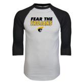 White/Black Raglan Baseball T-Shirt-Fear the Trojans