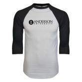White/Black Raglan Baseball T-Shirt-Anderson University