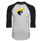 White/Black Raglan Baseball T-Shirt-Trojan Head