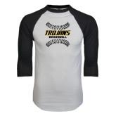 White/Black Raglan Baseball T-Shirt-Baseball Sideway Seams